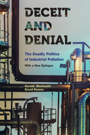 Deceit and Denial Book Cover with Industrial Machines