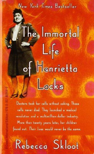 The immortal life of Henrietta Lacks Book cover with a photo of Henrietta