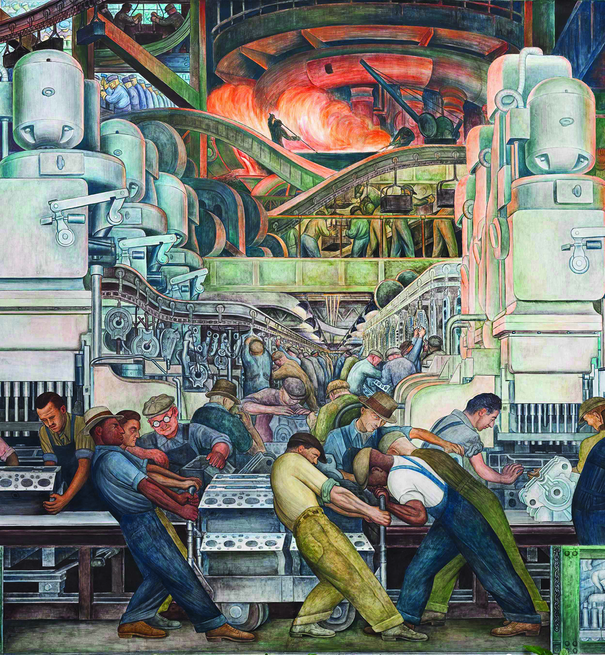 Detailed drawing of steel workers in a Detroit auto factory