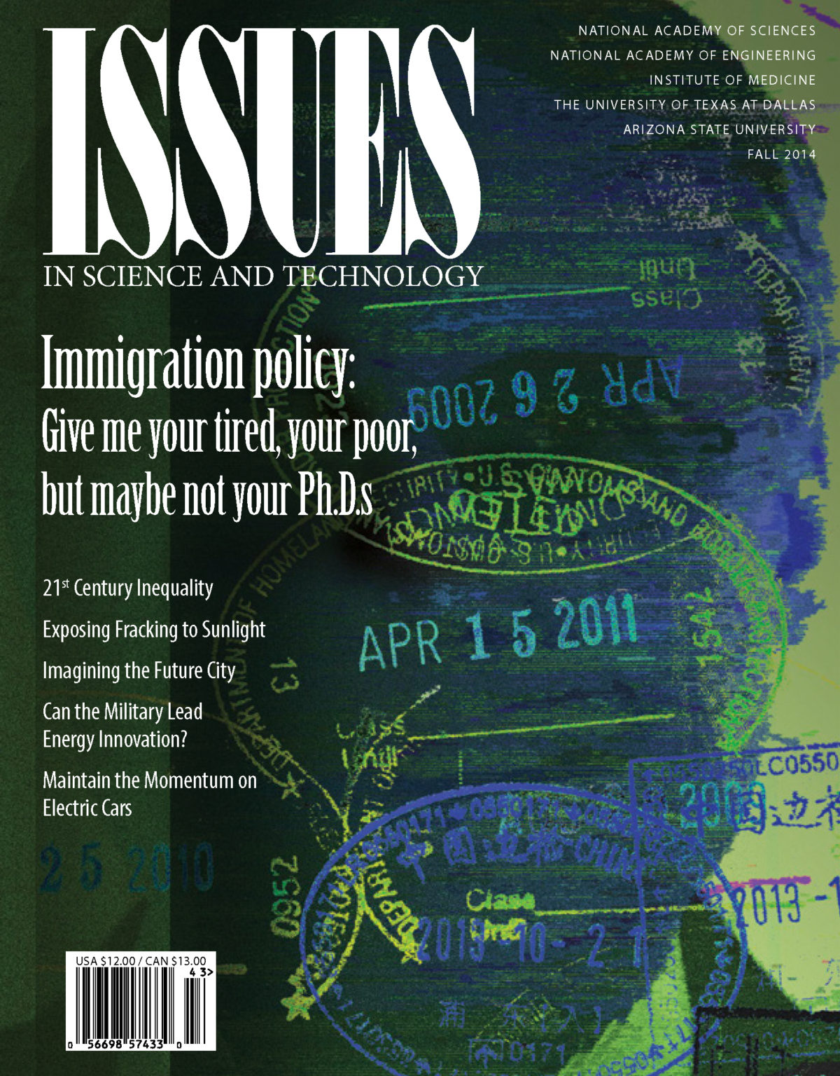 Issues Fall 2014 Immigration Policy Front Cover with Dated stamps on it