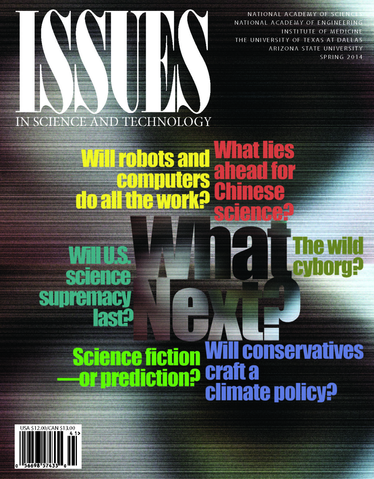 Issues Spring 2014 What Next front cover with colorful text questions