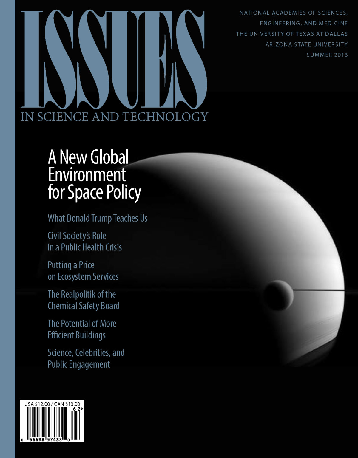 Magazine cover shows a moon orbiting a planet