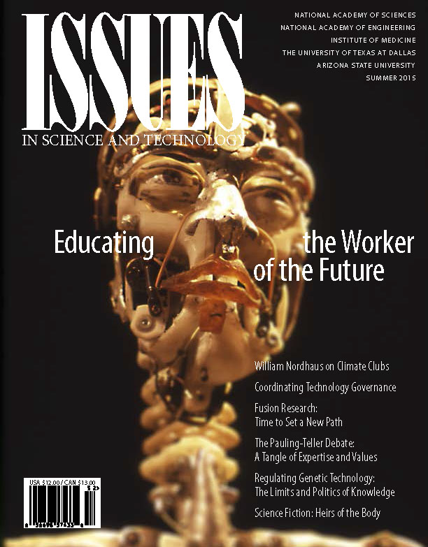 Magazine cover shows model skeleton with robotic face