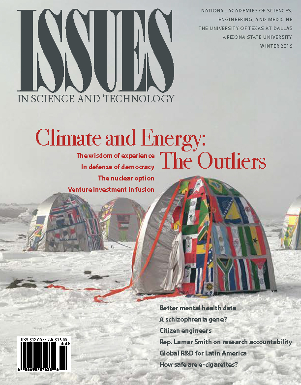 Issues WInter 2016 Climate and Energy: The Outliers Front Cover Featuring tents with flags on them