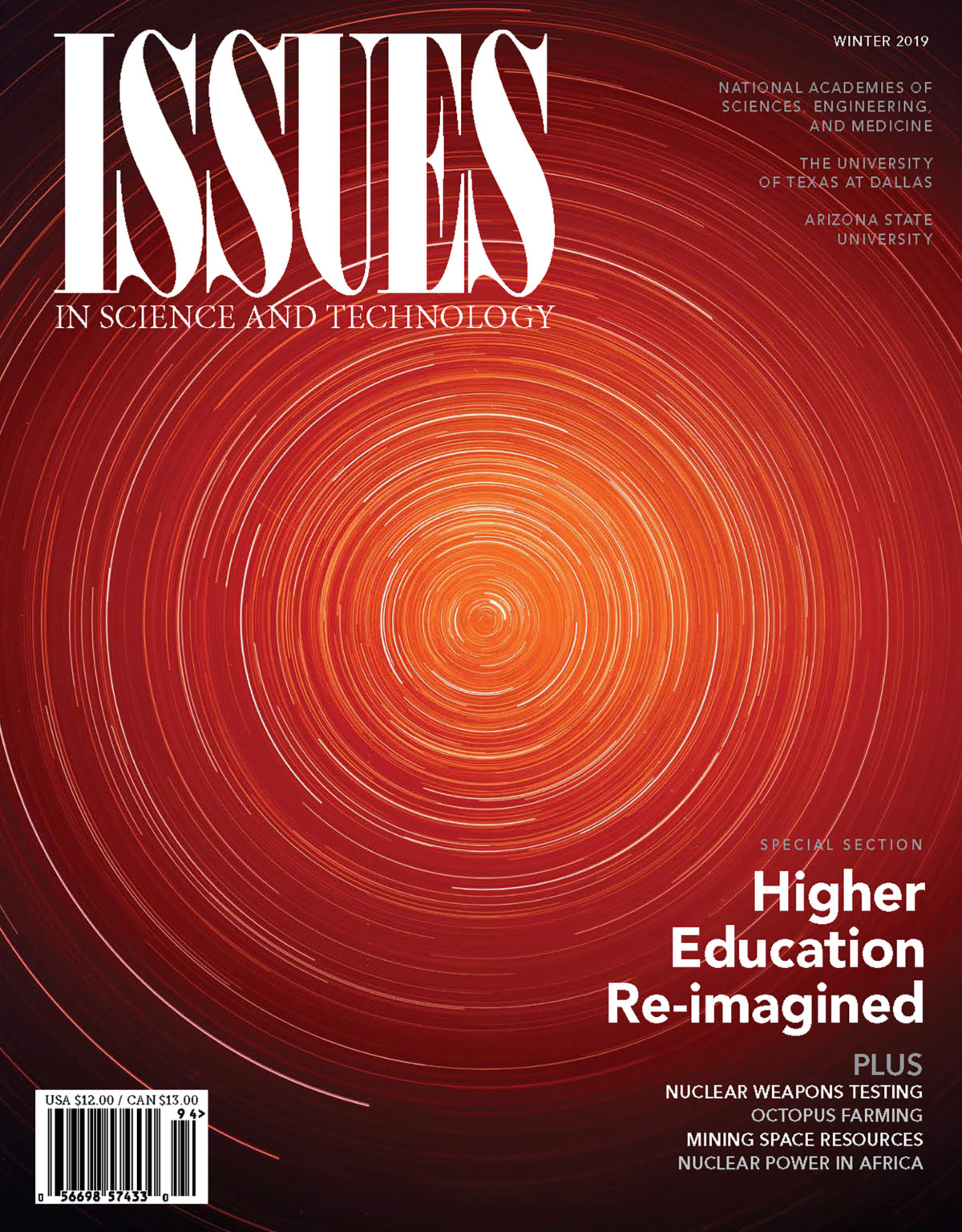 Magazine cover displays a spiral of star trails