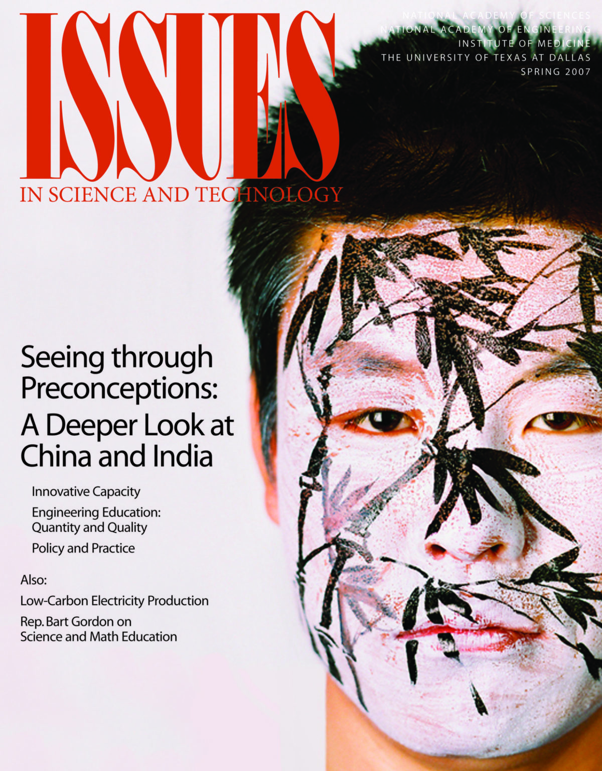 Issues Spring 2007 Seeing through Preconceptions front cover with man's face painted with bamboo on it