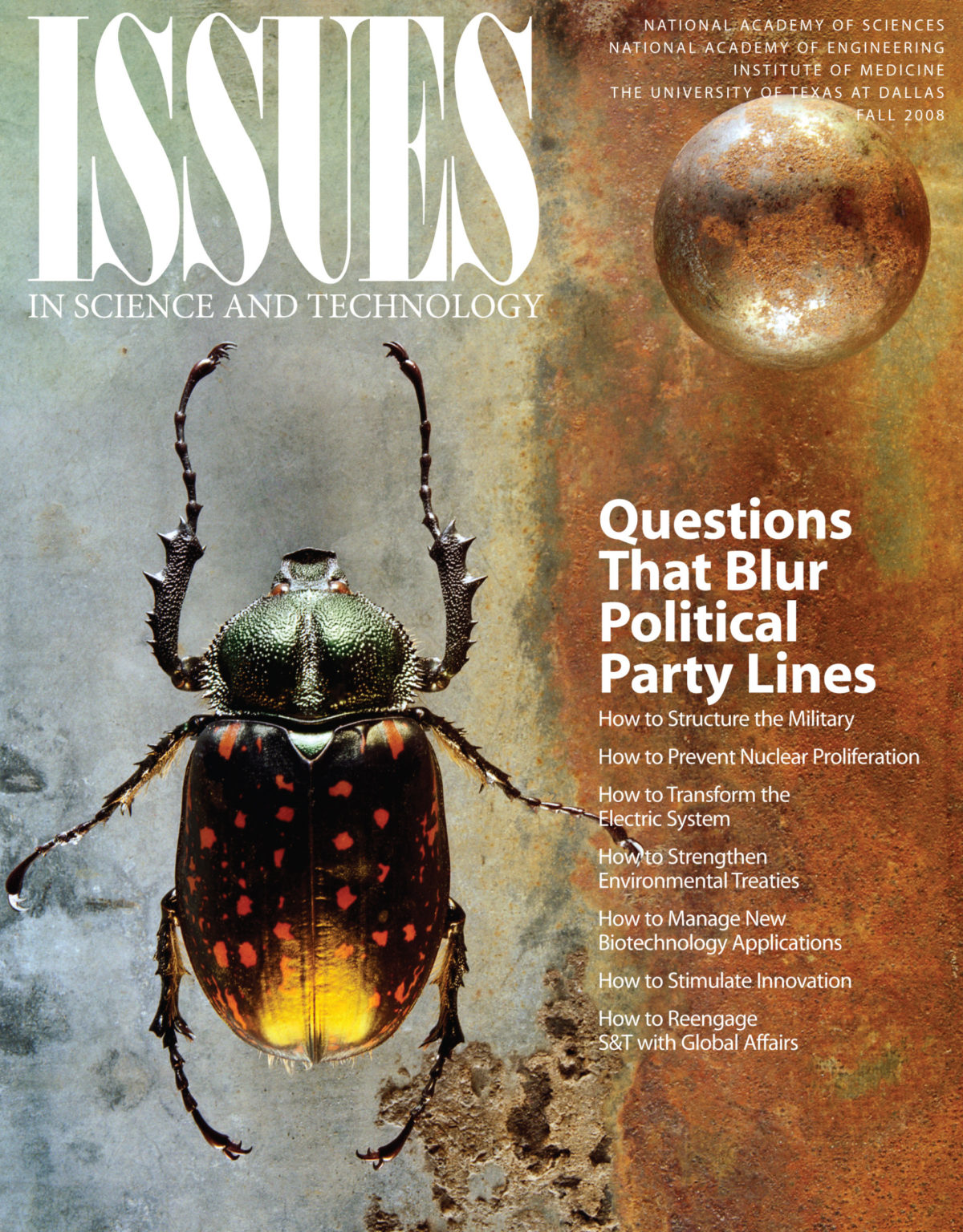 Issues Fall 2008 Questions That Blur Political Party Lines Front Cover with Photo of a Beetle
