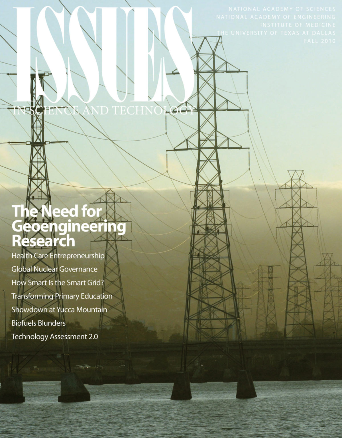 Issues Fall 2010 The Need for Geoengineering Research Cover