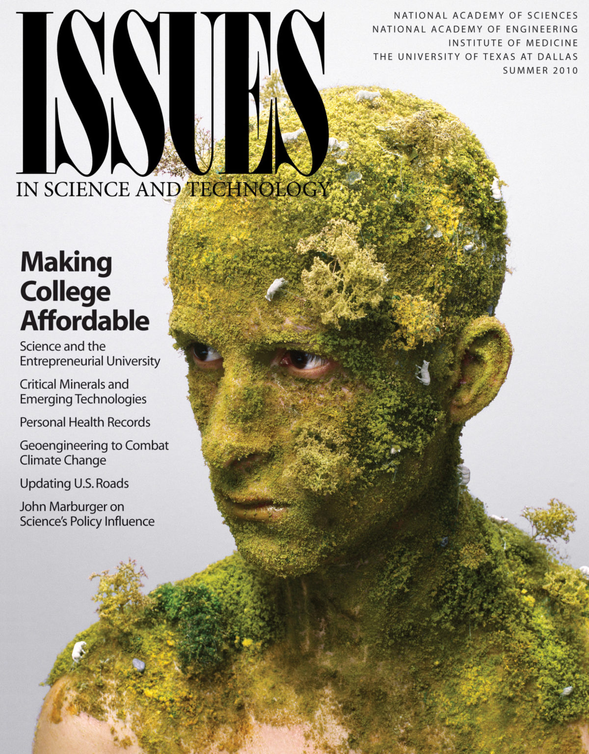 Issues Summer 2010 Front Cover Featuring a Person covered in moss