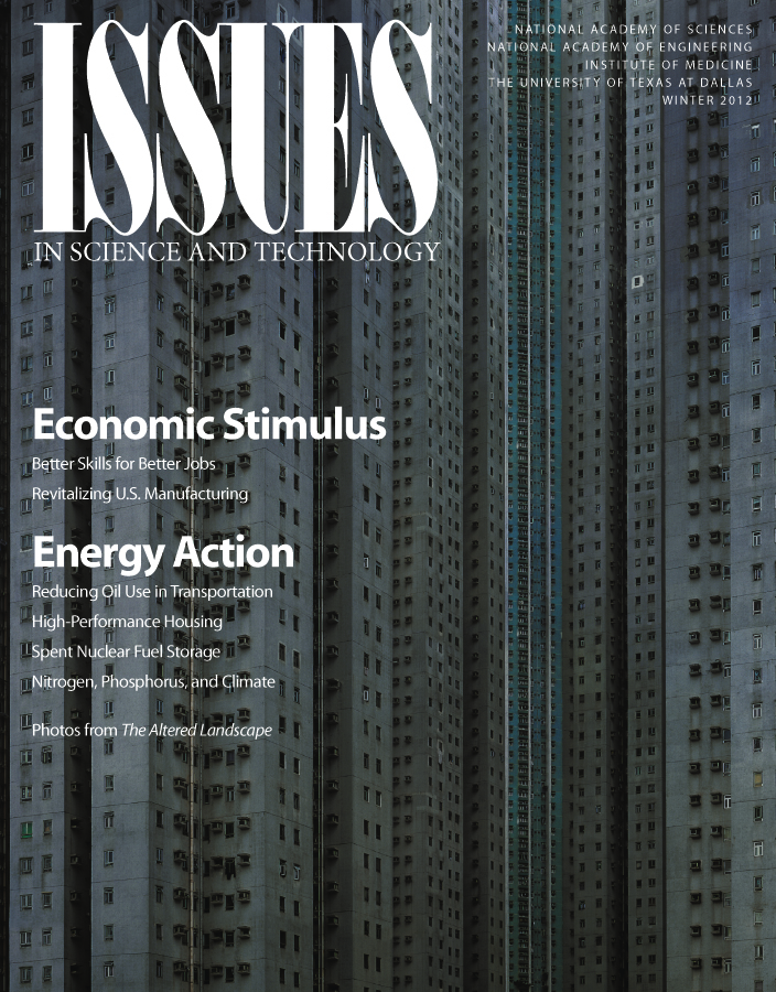 Issues Winter 2021 Economic Stimulus and Energy Action front cover with high rise buildings