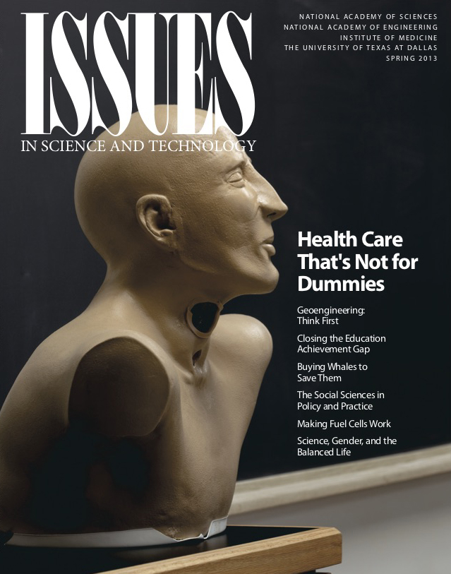 Magazine cover with a bust of a dummy