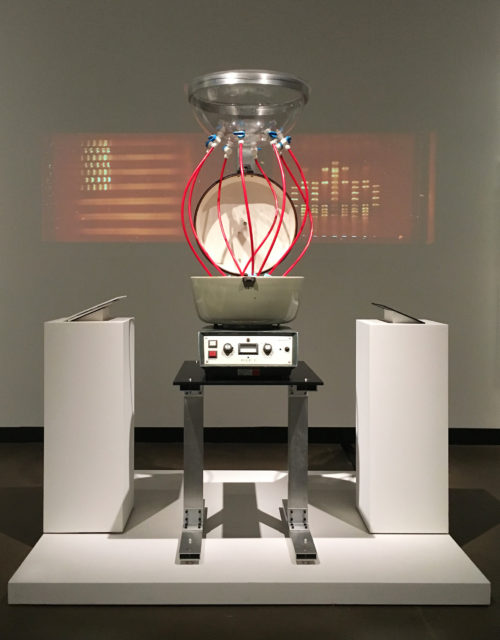 Paul Vanouse, America Project, 2016, spittoon and video projection.