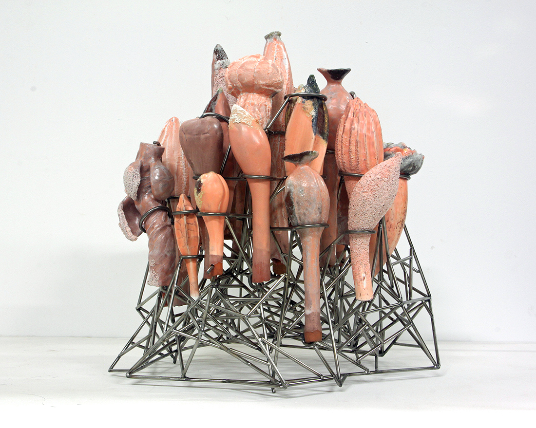 DAVID HICKS, Construction (Rose), ceramic and stainless steel, 2016