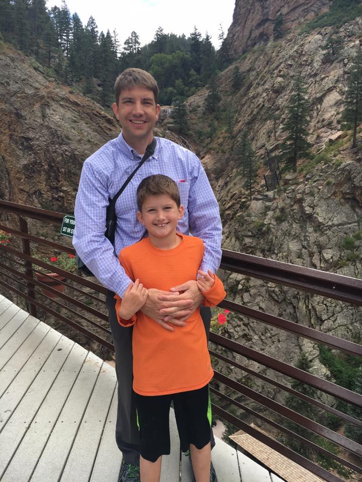 Adam Briggle and his son, Max