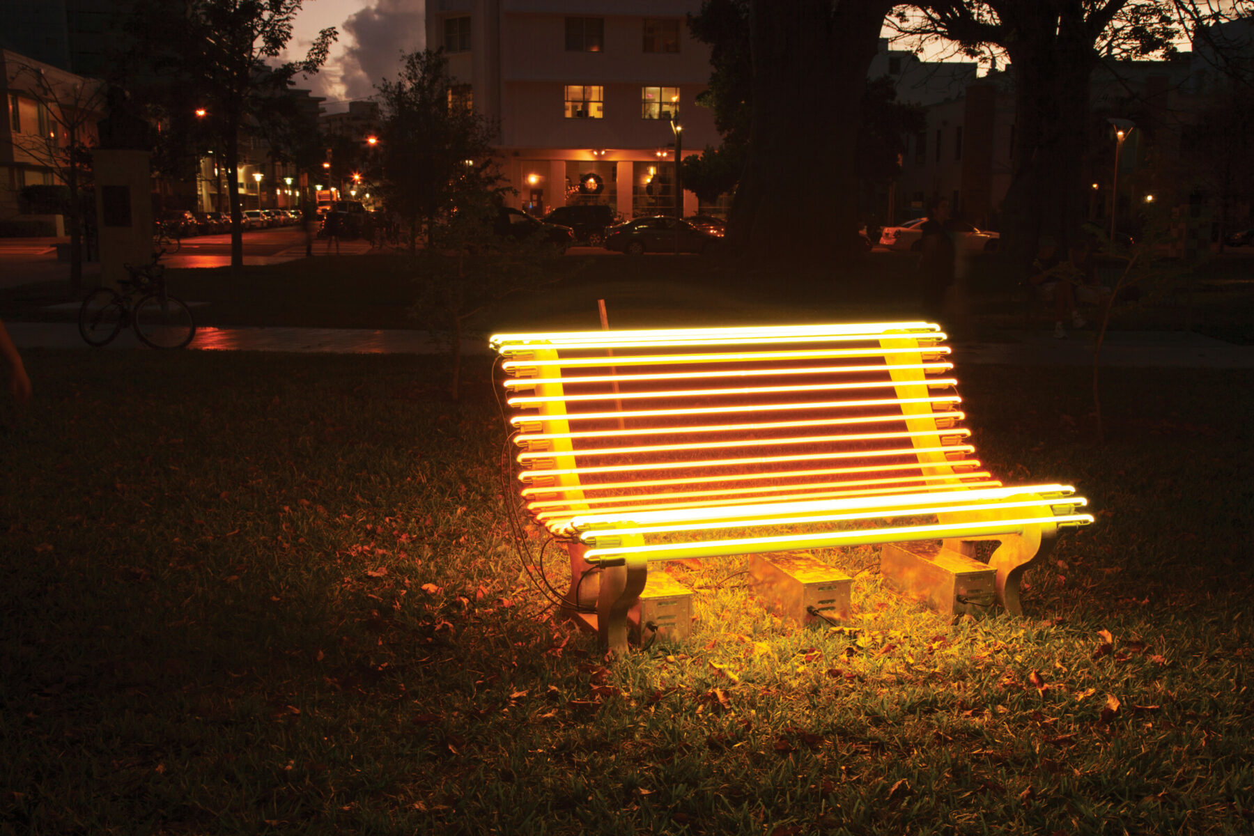 "Iván Navarro, ""Street Lamp (Yellow Bench)"" (2012)"